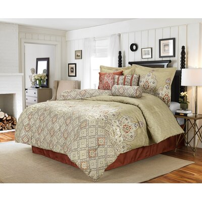 Cunningham 7 Piece Reversible Comforter Set Size: King