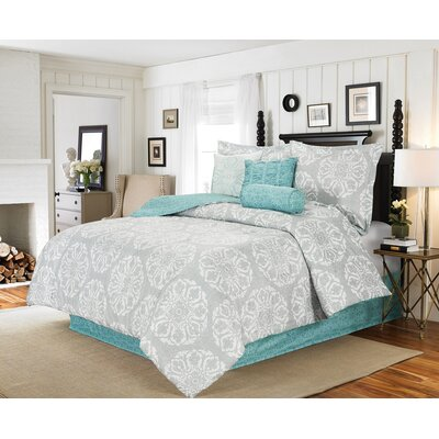 Watson Medallion 7 Piece Comforter Bed in a Beg Set Size: Queen