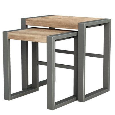 Industrial 2 Piece Nesting Table Set