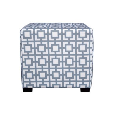 Merton Gigi Square 4-Button Upholstered Ottoman Upholstery: Blue/Gray
