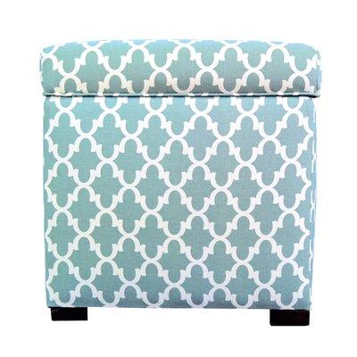 Deveau Square Storage Ottoman Upholstery: Aqua/White