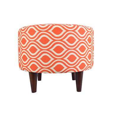 Sophia Nicole Round Ottoman Upholstery: Orange/Gray