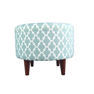 Sophia Fulton Round Ottoman Upholstery: Aqua/White