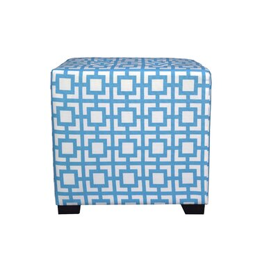 Merton Gigi Square 4-Button Upholstered Ottoman Upholstery: Blue/White