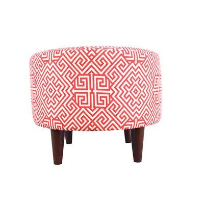 Sophia Santorini Round Ottoman Upholstery: Orange/White