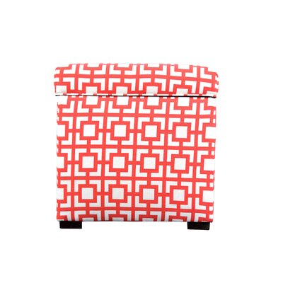 Tami Gigi Square Storage Ottoman Upholstery: Orange/White
