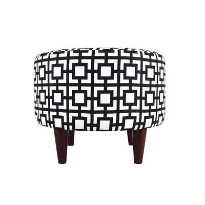 Sophia Gigi Round Ottoman Upholstery: Black/White
