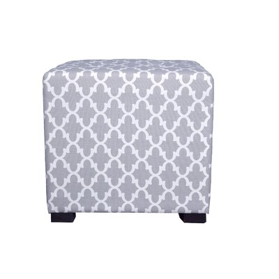Merton Fulton Square 4-Button Upholstered Ottoman Upholstery: Gray/White