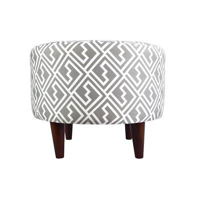 Sophia Shakes Round Ottoman Upholstery: Gray/White