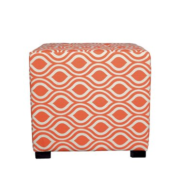 Merton Nicole Square 4-Button Upholstered Ottoman Upholstery: Orange/Gray