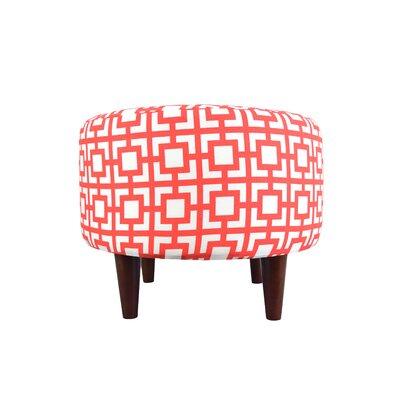 Sophia Gigi Round Ottoman Upholstery: Orange/White