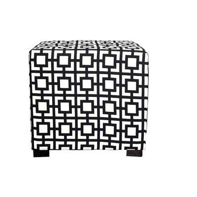 Merton Gigi Square 4-Button Upholstered Ottoman Upholstery: Black/White