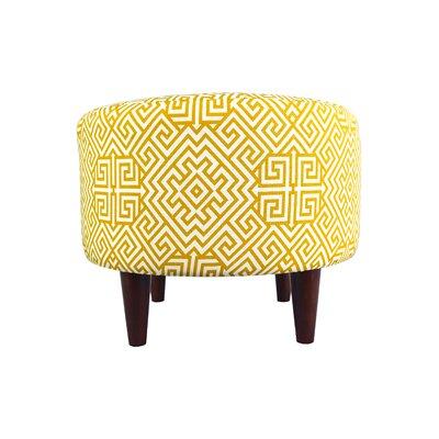 Sophia Santorini Round Ottoman Upholstery: Yellow/White
