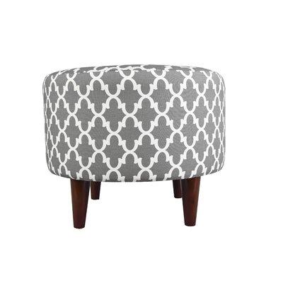 Sophia Fulton Round Ottoman Upholstery: Gray/White