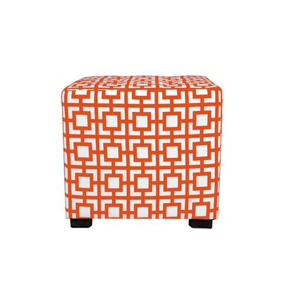 Merton Gigi Square 4-Button Upholstered Ottoman Upholstery: Orange/White