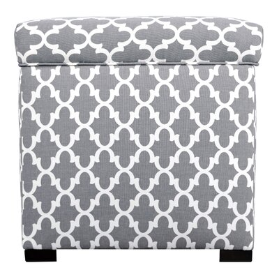 Deveau Storage Ottoman Upholstery: Gray/White