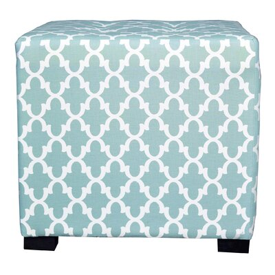 Merton Fulton Square 4-Button Upholstered Ottoman Upholstery: Aqua/White