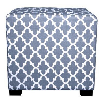 Merton Fulton Square 4-Button Upholstered Ottoman Upholstery: Blue/Gray