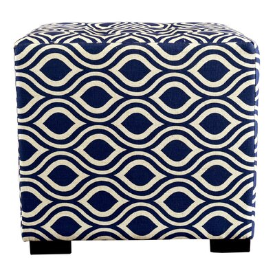 Merton Nicole Square 4-Button Upholstered Ottoman Upholstery: Dark Blue/Gray