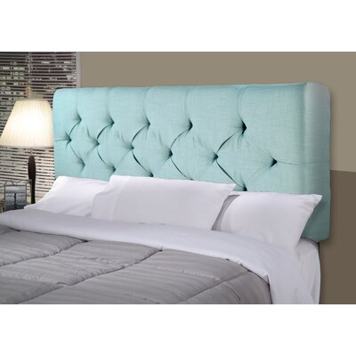Jackie Upholstered Panel Headboard Size: Queen, Upholstery: Gray / Red Tint