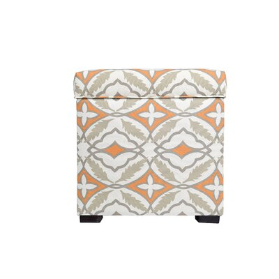 Eden Upholstered Storage Ottoman Upholstery: Orange