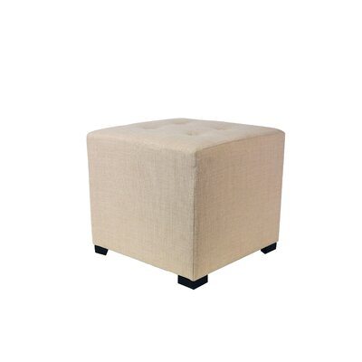 4 Button Tufted Ottoman Upholstery: Beige