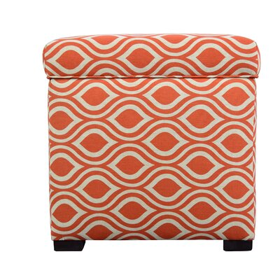 Nicole Square Shoe Storage Ottoman Upholstery: Orange/Gray