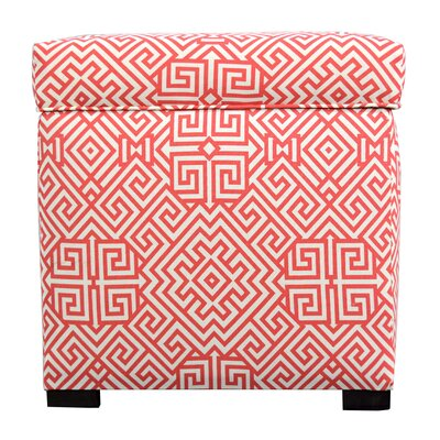 Santorini Square Shoe Storage Ottoman Upholstery: Orange/White