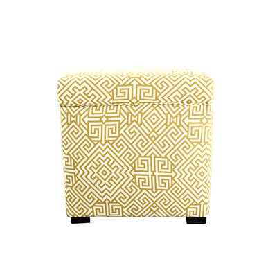 Santorini Square Shoe Storage Ottoman Upholstery: Yellow/White