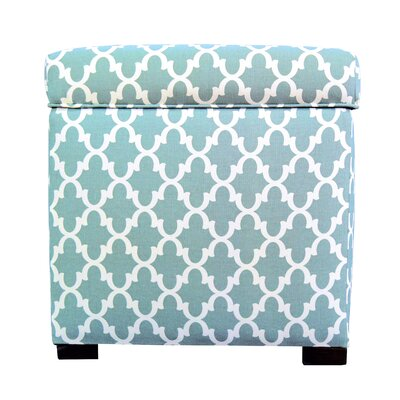 Fulton Square Shoe Storage Ottoman Upholstery: Aqua/White
