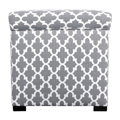 Fulton Square Shoe Storage Ottoman Upholstery: Gray/White