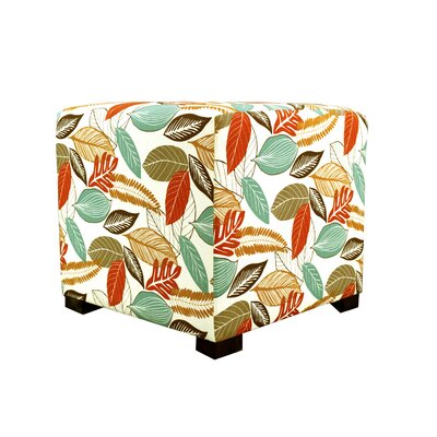 Flora Foliage Tufted Square Ottoman Upholstery: Coral