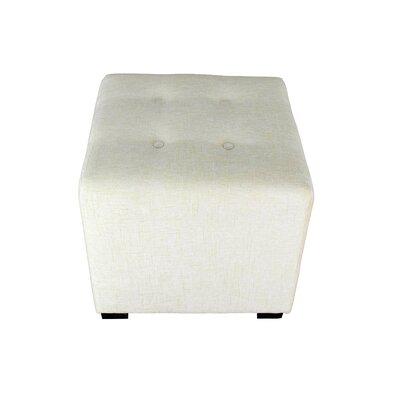Merton Atlas Upholstered Cube Ottoman Upholstery: Bone