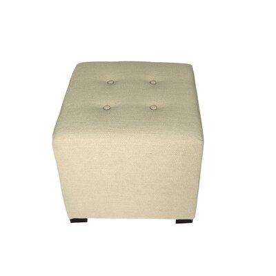 Merton Belfast Upholstered Cube Ottoman Upholstery: Linen