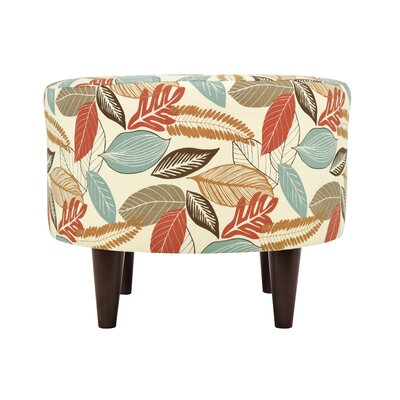 Flora-Foliage Sophia Ottoman Upholstery: Coral