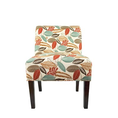 Samantha Button Tufted Flora Foliage Slipper chair Color: Coral