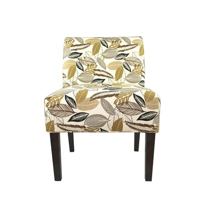 Samantha Button Tufted Flora Foliage Slipper chair Color: Driftwood