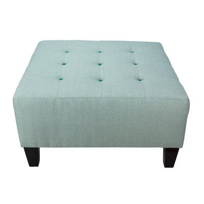 Max Cocktail Ottoman Detail: Turquoise, Upholstery: Sea Mist