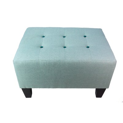 Max Ottoman Detail: Turquoise, Upholstery: Sea Mist