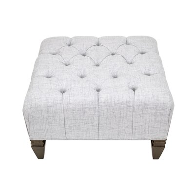 Germaine Upholstered Diamond Tufted Ottoman Upholstery: Silver
