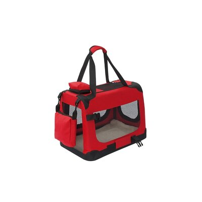 Heavy Duty Collapsible Portable Home Spacious Traveler Pet Carrier Size: 14 H x 19 W x 12 D, Color: Red
