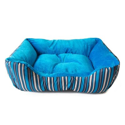 Soft Plush Pet Cushion Bolster Color: Blue Stripes