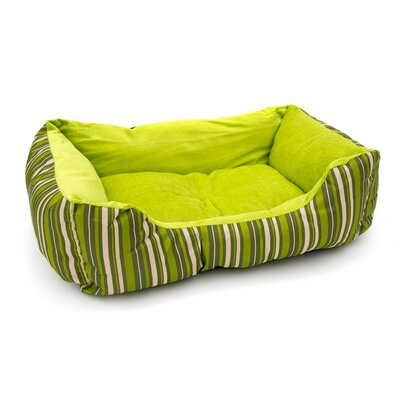 Soft Plush Pet Cushion Bolster Color: Green Stripes