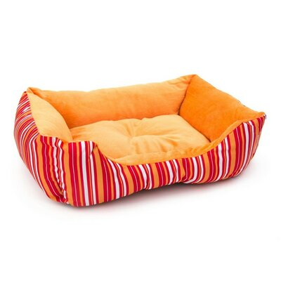Soft Plush Pet Cushion Bolster Color: Orange Stripes