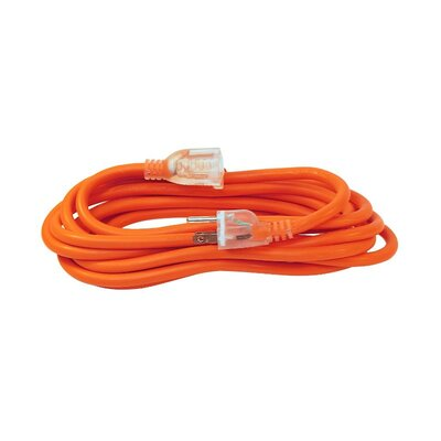 ETL Heavy Duty Indoor/Outdoor Extension Cord SJTW Lighted Plug Size: 15 L