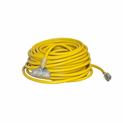 ETL Heavy Duty Extension Cord SJTW Triple Tap Lighted Plug