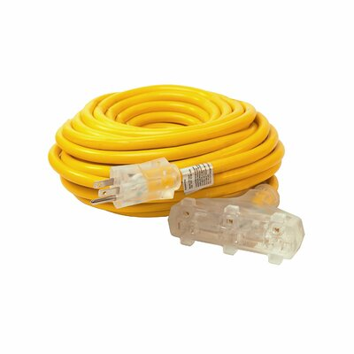 ETL Heavy Duty Extension Cord SJTW Triple Tap Lighted Plug Size: 50 L