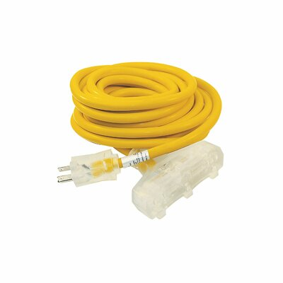 ETL Heavy Duty Extension Cord SJTW Triple Tap Lighted Plug Size: 25 L