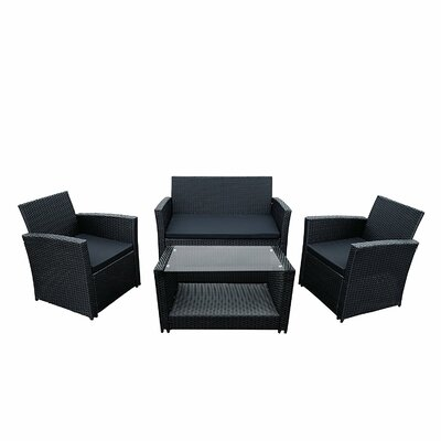 Lipari 4 Piece Deep Seating Group with Cushion