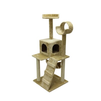 "Image of 47"" Condo Scratching Post Furniture Cat Tree"